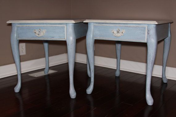 Pair Of Vintage Shabby Chic End Tables Or Side Tables Refinished In