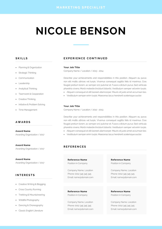 Creative Resume Template Modern Cv Design For Word Instant Download Marketing Designer Startup Graduate 1 2 Page Resume Nicole Good Resume Examples Resume Examples Resume Template