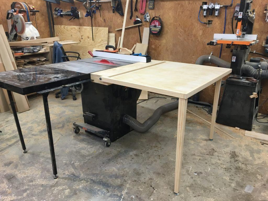 how to build a (folding) out feed table for your table saw