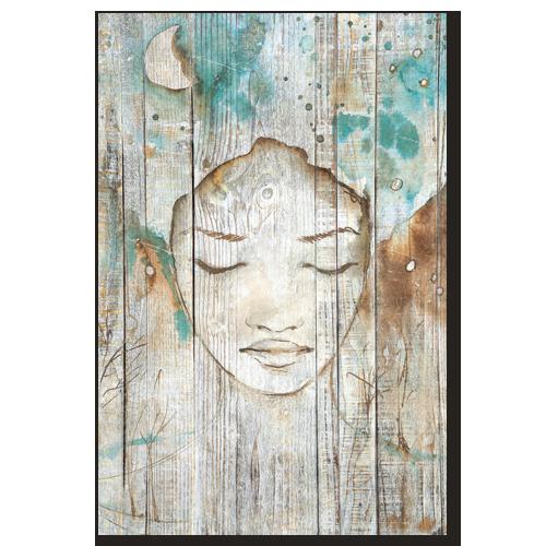 tableau d coratif effet bois r ve de femme esquisse peinture bleu turquoise tableau mural. Black Bedroom Furniture Sets. Home Design Ideas