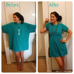 T-shirt into dress, an easy tutorial! >> Love this! via Diary of a Mad Crafter  --This looks like it would make some really cute little girl dresses/tunic tops too.