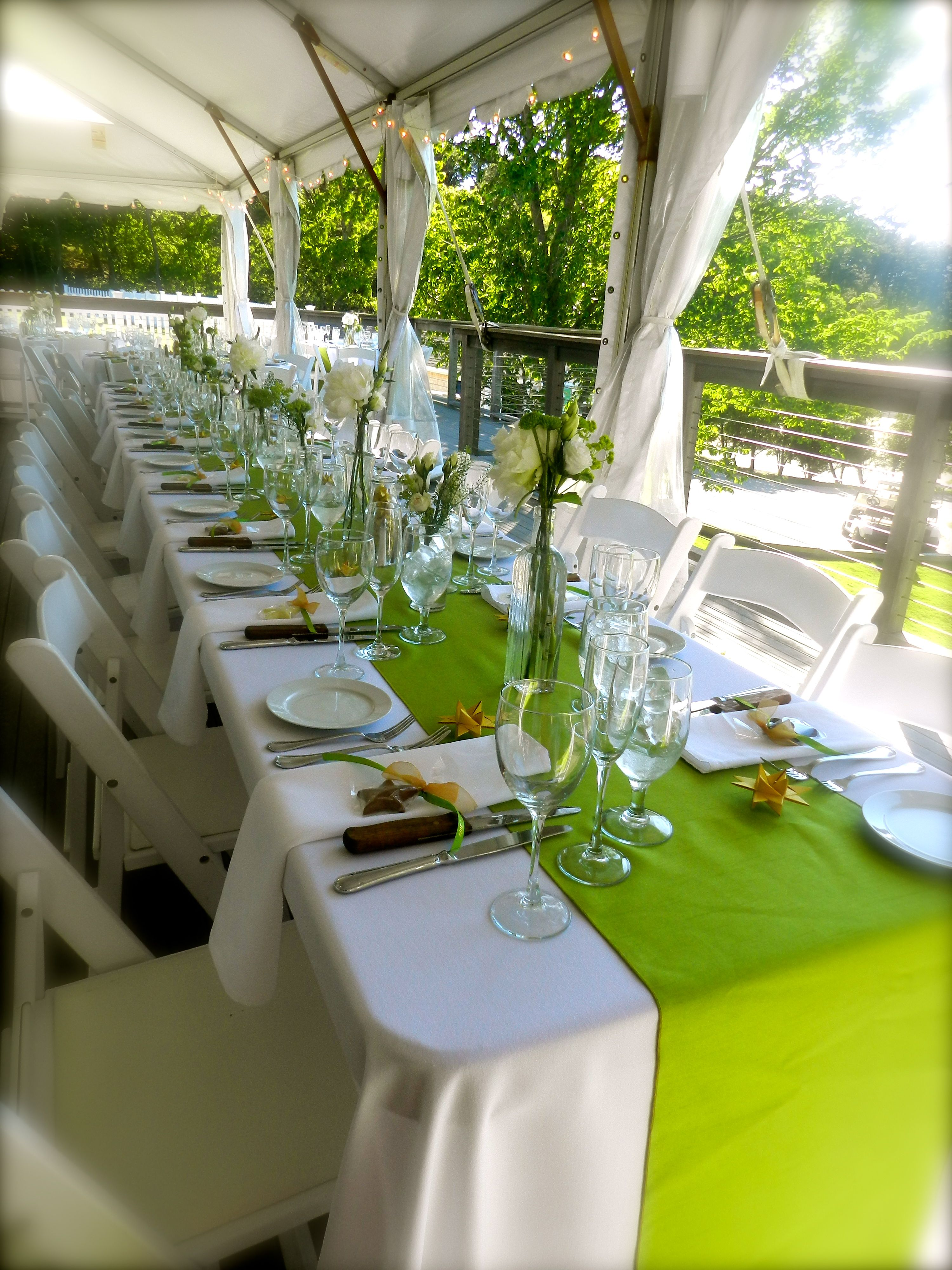 Cape Cod Weddings Beach Table Scape Lime Green And Gold White