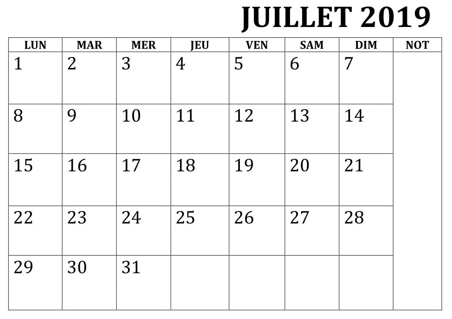 Calendrier 2019 Mois Par Mois A Imprimer.Juillet Calendrier 2019 A Imprimer Word Gratuit Mensuel