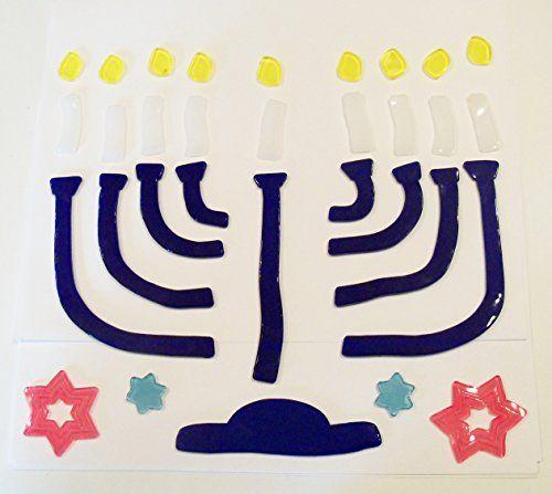 Hanukkah Reusable Gel Window Clings Blue Menorah Stars of David 31 - halloween window clings