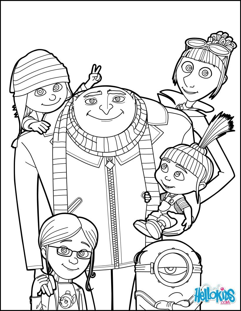 Despicable Me Gru And All The Family Coloring Page More Sheets On Hellokids