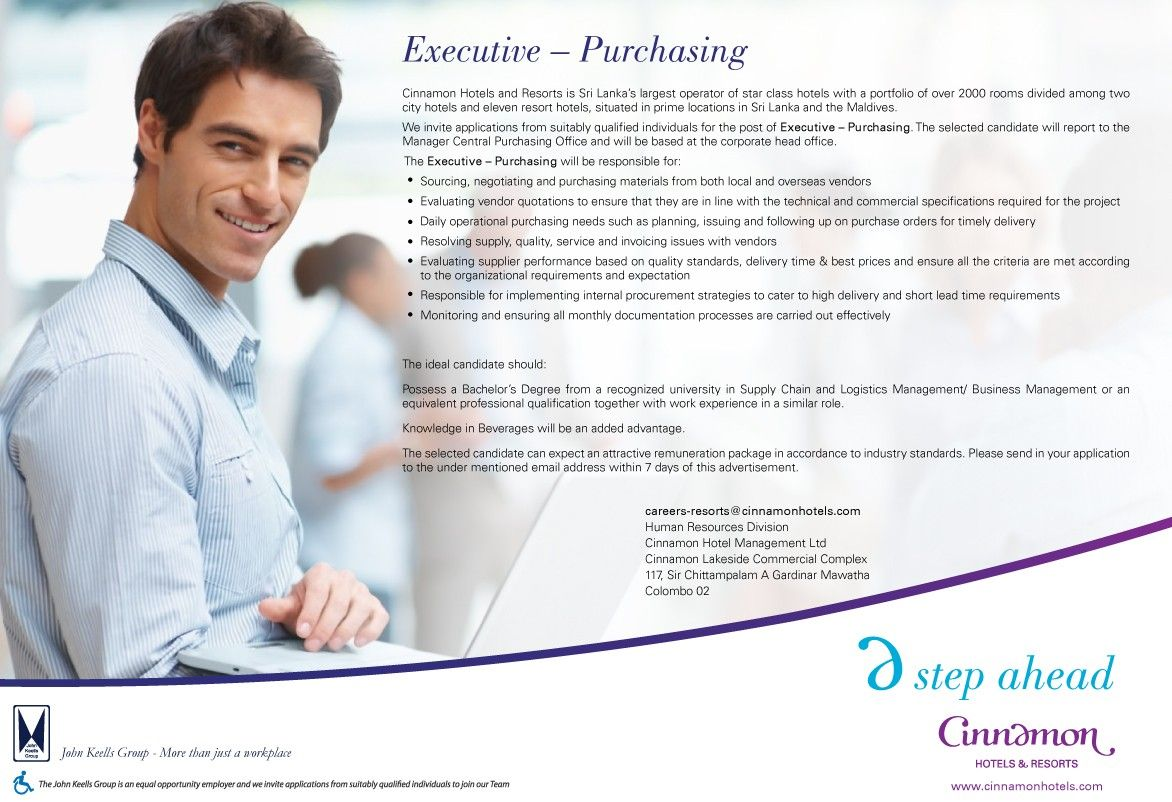purchasing executive at cinnamon hotel management career the ideal candidate should possess a bachelor s degree from a recognized university in supply chain and logistic management business management or