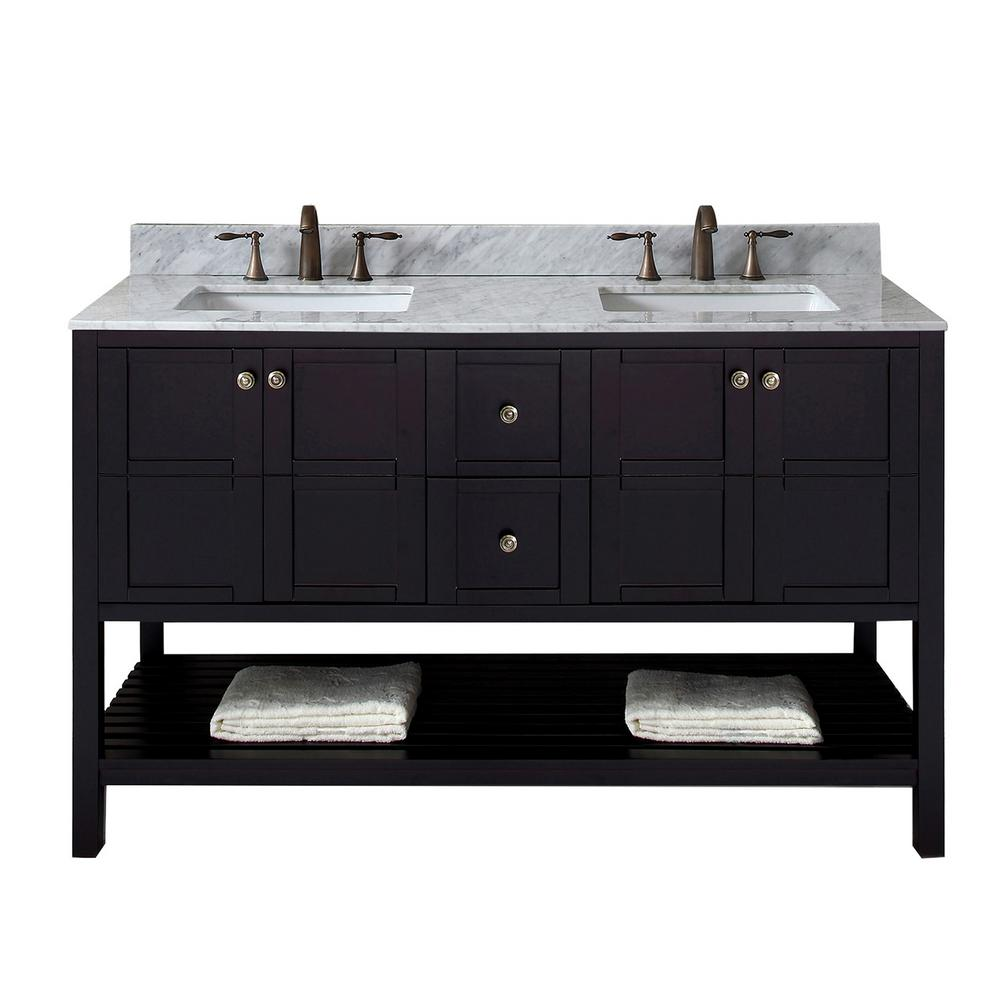 Virtu USA Winterfell 60 in. W Bath Vanity in Espresso with