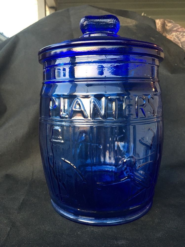 Planter S Peanuts Cobalt Blue Lidded Glass Jar General Store Kitchen Retro Collectibles Advertising Food Beverage Ebay Planters Peanuts Glass Jars Jar