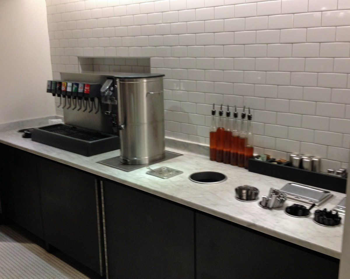 clean design trash and condiment station, built in utensil ...