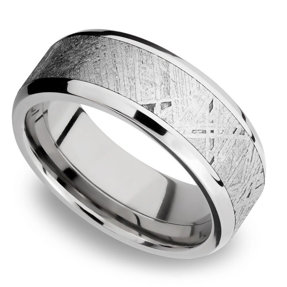 Starwind Platinum Mens Band With Beveled Meteorite Inlay Mens Wedding Rings Platinum Mens Wedding Bands Platinum Mens Wedding Bands Meteorite
