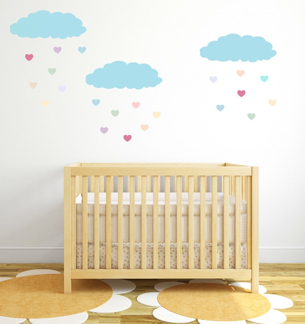 Cloud Wall Decals Blue Heart Rain Drops, wall decal, wall sticker ...