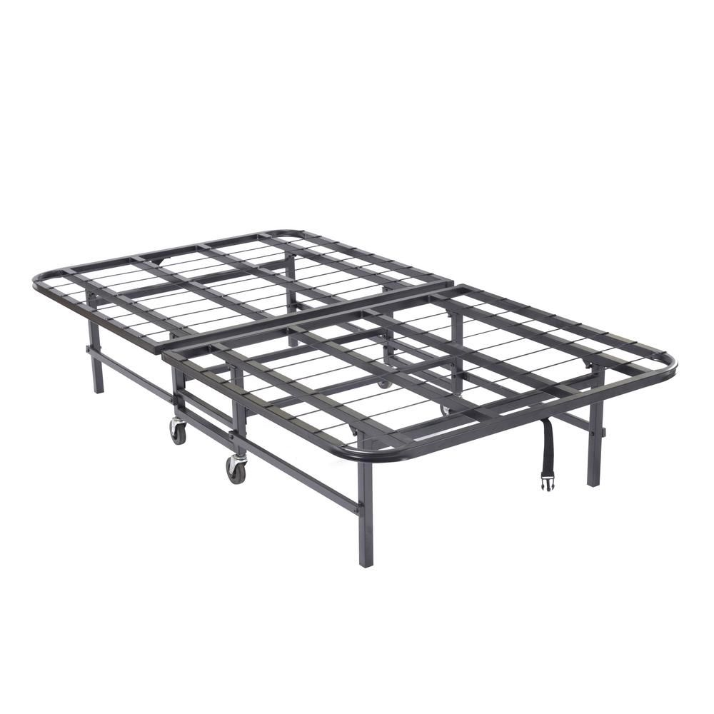 Signature Home Black Heavy Duty Metal Twin Platform Folding Bed