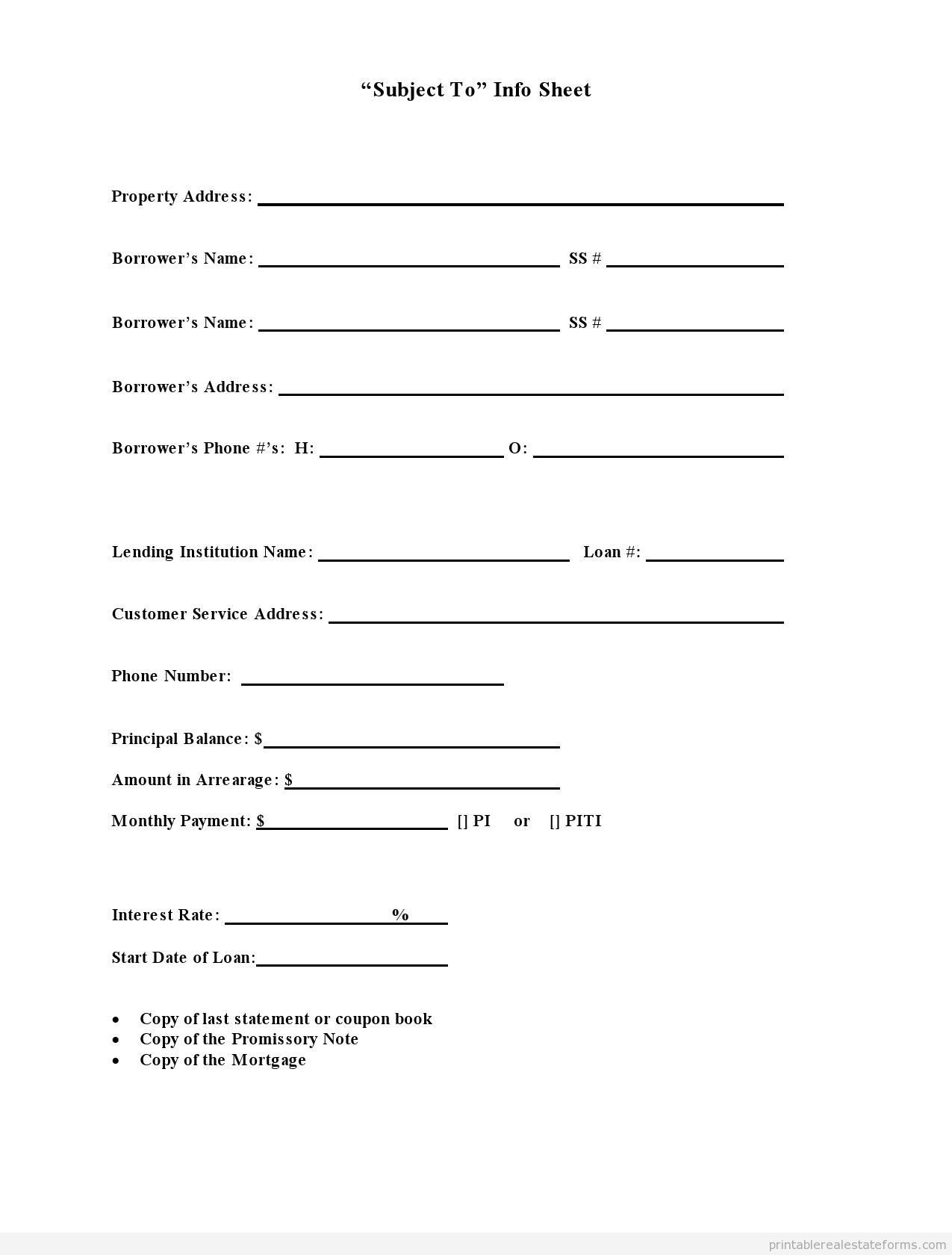 Sample Printable Subject To Info Sheet Form Real Estate Forms