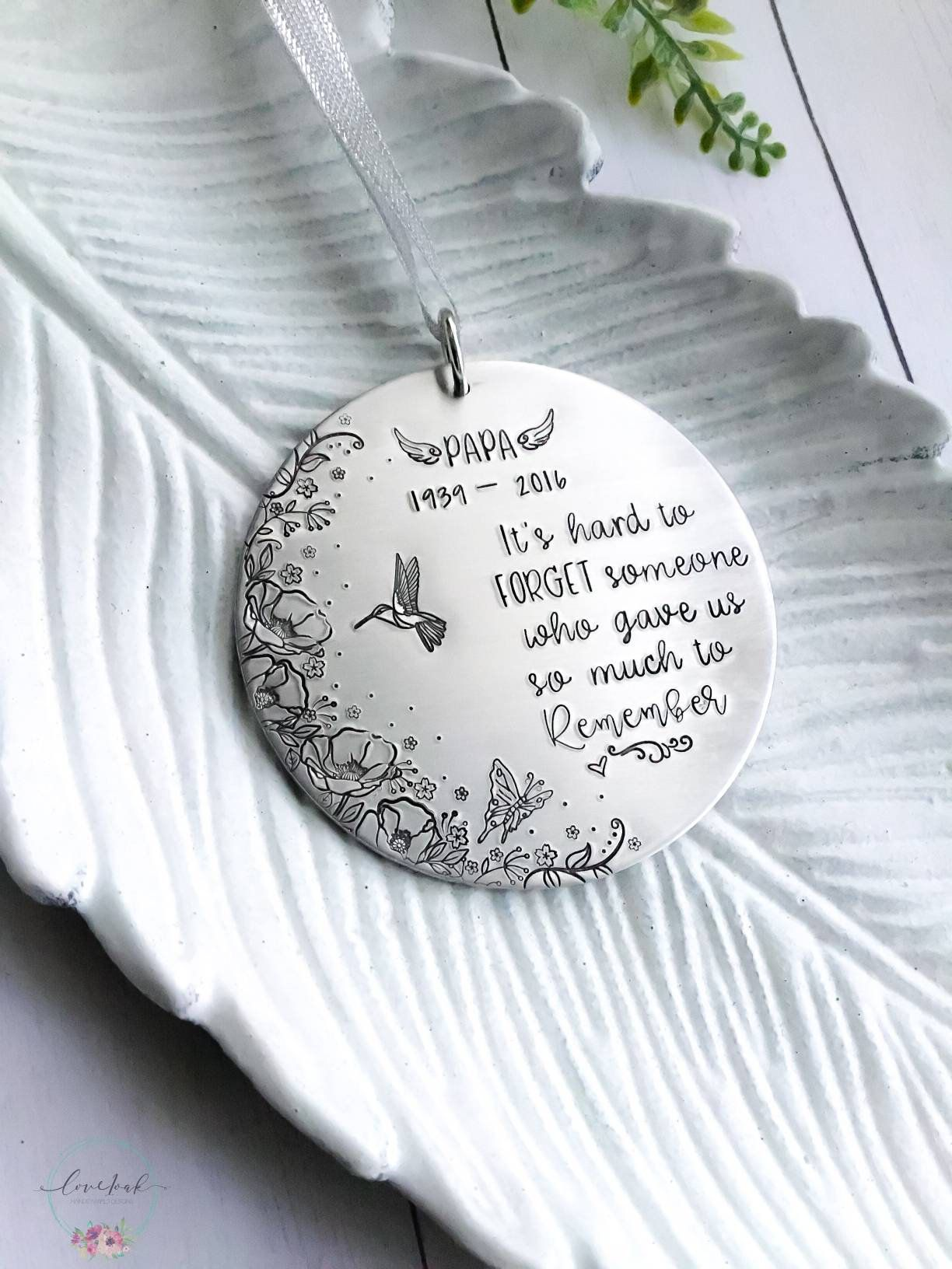 Personalized memorial Christmas ornament, custom name in ...