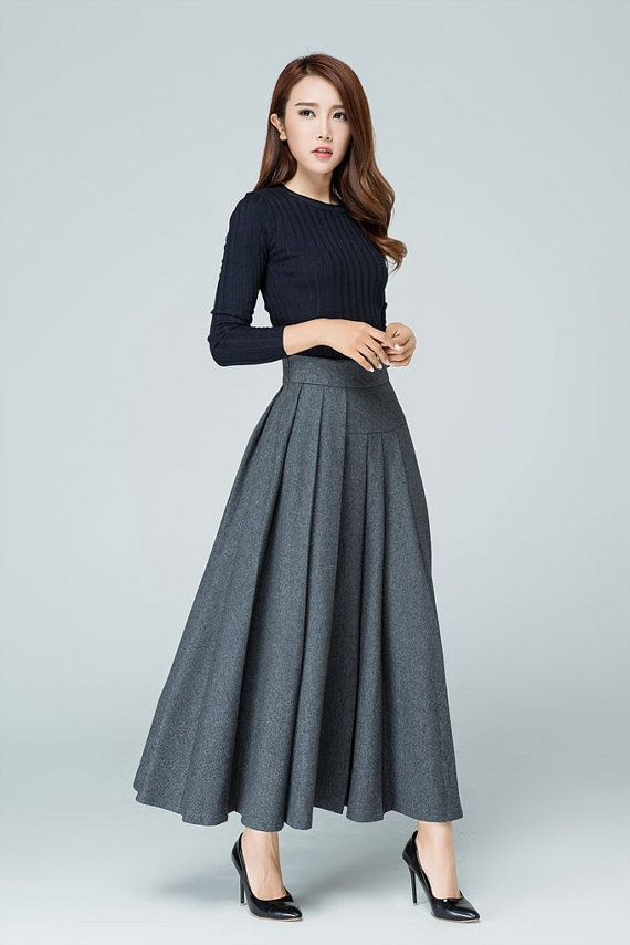 new arrival bd1f8 50089 Maxi Wool skirt, maxi skirt, gray skirt, wool skirt, pleated ...