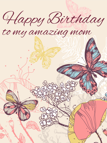 Elegant Butterfly Birthday Card For Mom Gorgeous Watercolor Happy Birthday Wishes Butterfly