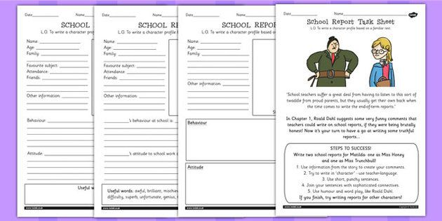 Matilda School Report Task Sheet And Differentiated Worksheets