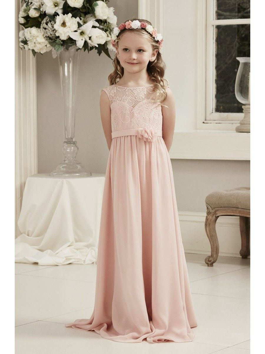 Long pink lace and chiffon junior bridesmaid dresses 1807001 long pink lace and chiffon junior bridesmaid dresses 1807001 ombrellifo Images