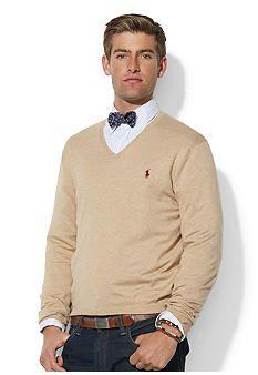 eb83401f Polo Ralph Lauren Pima Cotton V-Neck Sweater size: medium colors: camel and  estate green