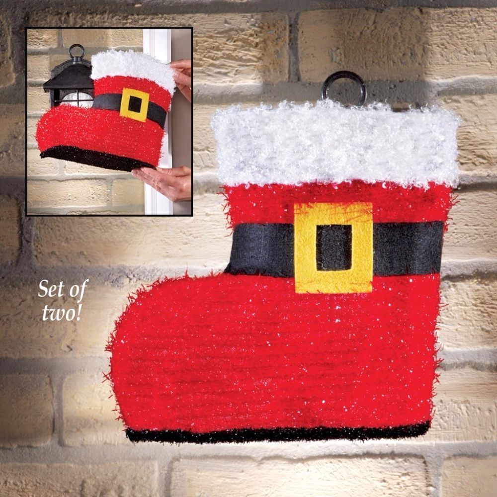 Santa Boot Christmas Porch Light Cover Hanging Home Decor 2 X 10 Inch Set Of 2 Santaboots Santa Porchlight Lightcover Cover Wallha Porch Light Covers Christmas Porch Light Covers