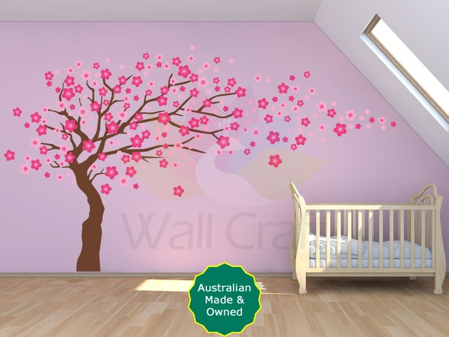 Wonderful Cherry Blossom Tree Decal Cherry Blossom Tree Wall Sticker For Kids Bedroom  Or Nursery Small Or Large Size Amazing Design