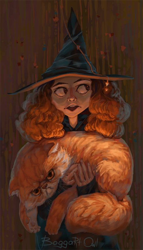 HP-Hermione and Crookshanks by polyminthe on DeviantArt