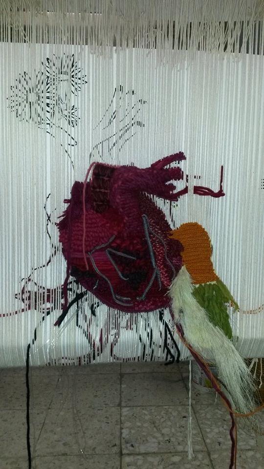 tapestry / tapiz corazón texturizado en proceso