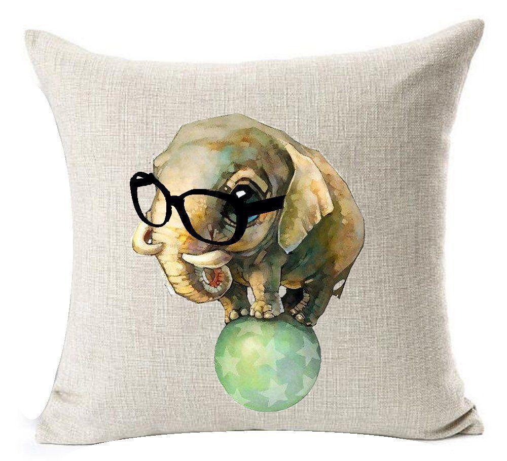 Funny Pillow Case Cushion Cotton Linen Animal Abstract Circus Elephant Play Ball...