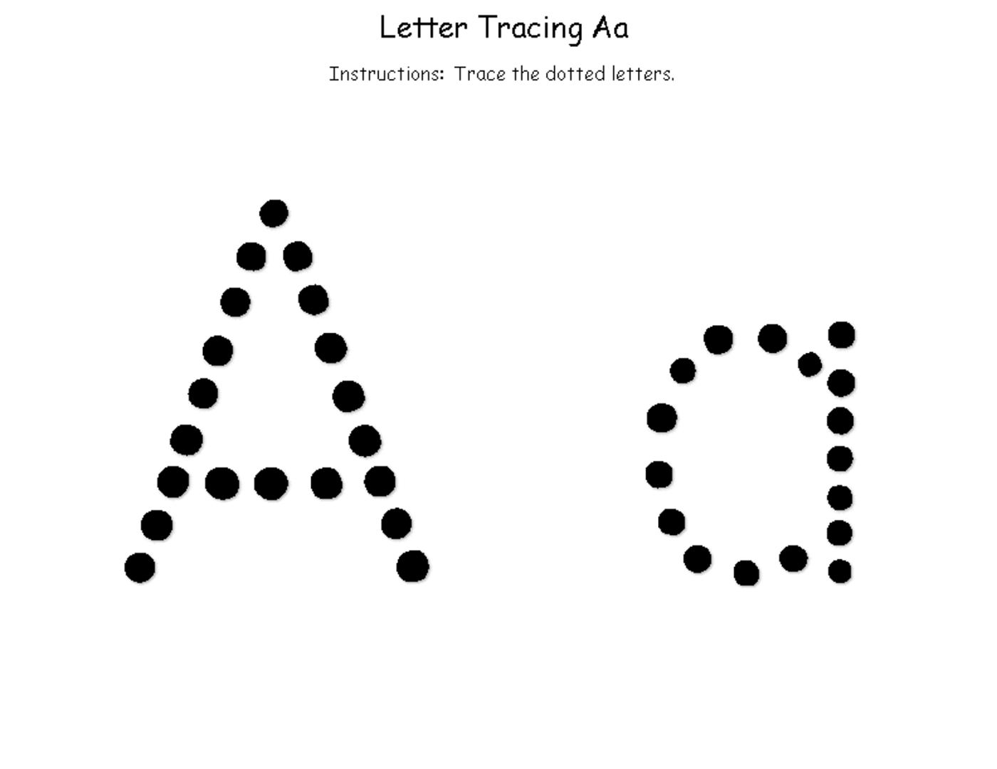 tracing the letter a free printable alphabet and numbers learning tracing letters tracing. Black Bedroom Furniture Sets. Home Design Ideas