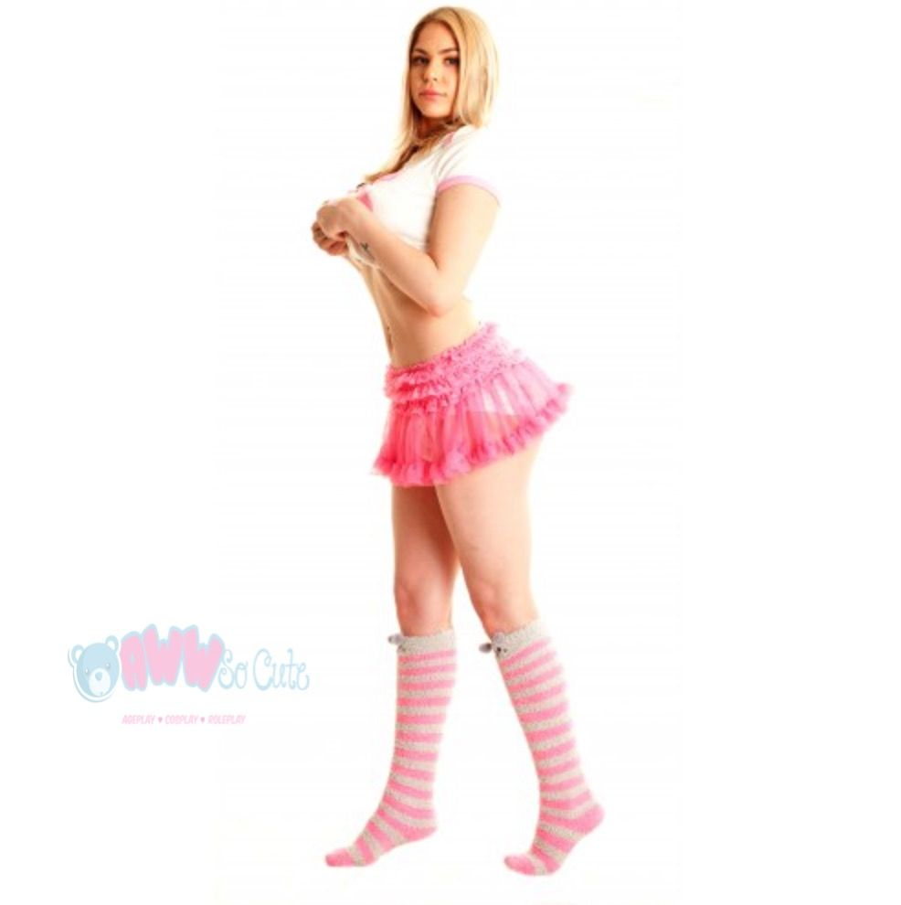Pink frilly lace tutu ruffle skirt rave cosplay diaper cover tutu