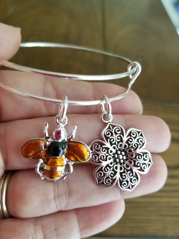 Silver Bee Bangle Bracelet Handmade