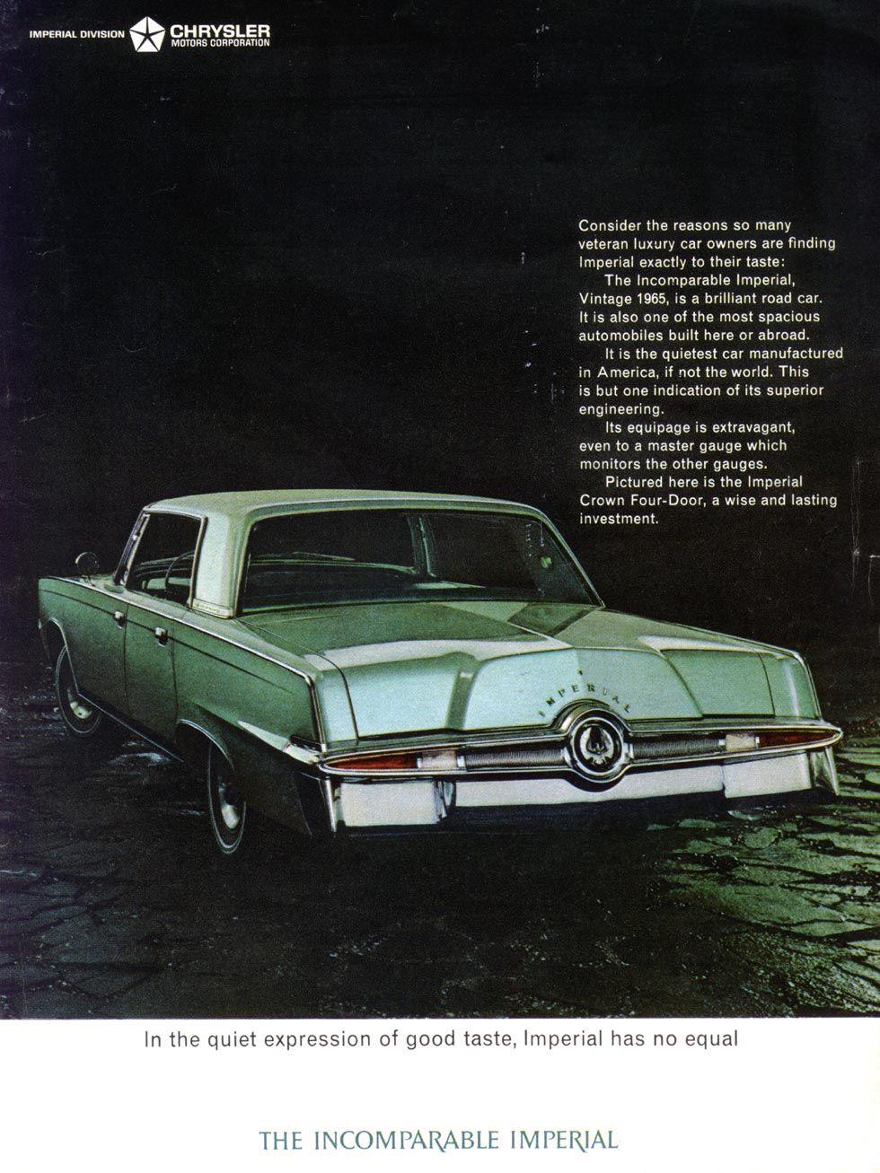 1965 Imperial Vintage Coupe Original Car Advertisement Print Ad J132