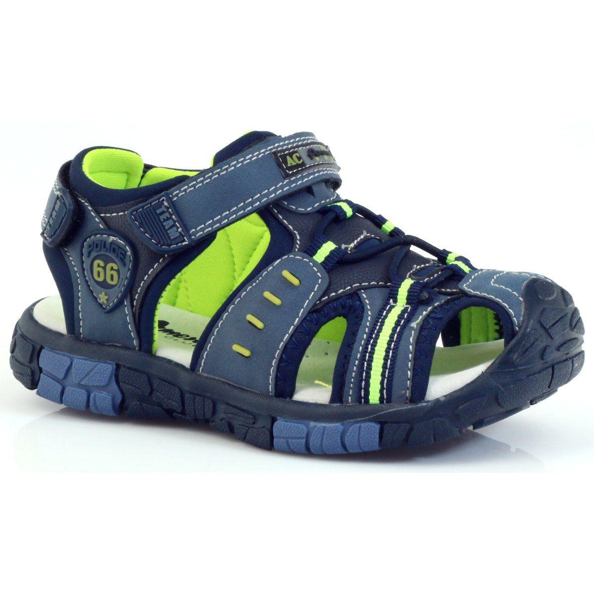 American Club Buty Dzieciece Sandalki Z Wkladka Skorzana American 93607 Granatowe Zielone Pomaranczowe Boys Shoes Boy Fashion Shoes