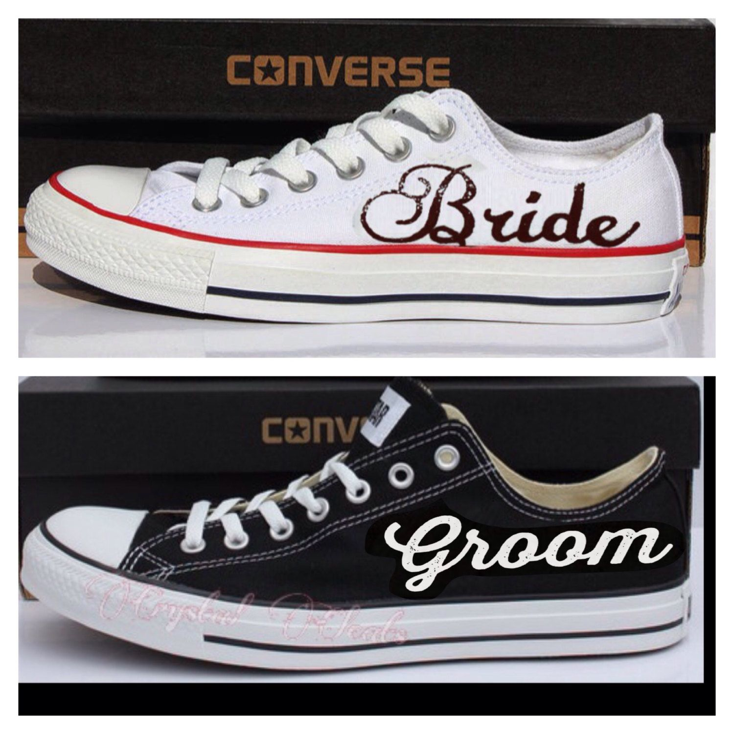 2 Pairs Bride And Groom Black White Converse All Star Chucks Sneakers Tennis Shoes Hand