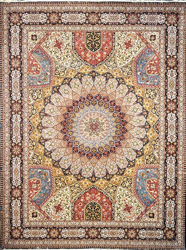 Tabriz Silk Persian Rug | Exclusive collection of rugs and tableau rugs - Treasure Gallery Tabriz Silk Persian Rug You pay: $14,500.00 Retail Price: $39,000.00 You Save: 63% ($24,500.00) Item#: 1 Category: Large(9x12-10x13) Persian Rugs Design: Gonbad Size: 295 x 399 (cm)      9' 8 x 13' 1 (ft) Origin: Persian, Tabriz Foundation: Silk Material: Wool & Silk Weave: 100% Hand Woven Age: Brand New KPSI: 480