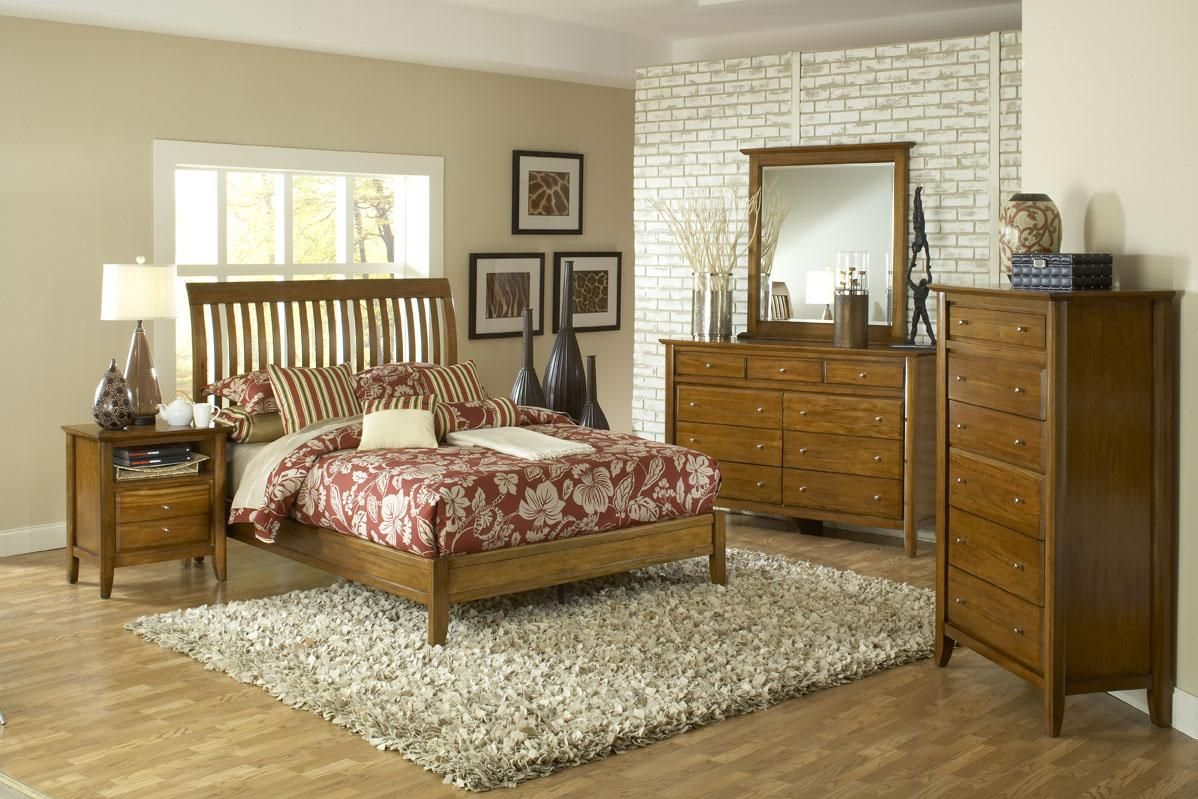 Modus Furniture City 2 Pecan Rake Sleigh Bedroom | Bed and bedroom ...