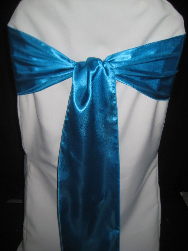 200 Satin Malibu Turquoise Wedding Chair Sashes Bows Unbranded