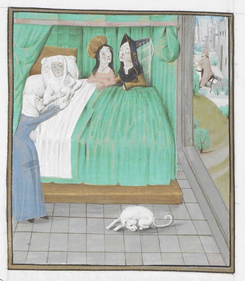 Detail of a miniature of the birth of Alexander the Great, at the beginning of book 5, from the Miroir Historial (translated by Jean de Vignay from Vincent of Beauvais's Speculum historiale), Netherlands (Bruges), 1479-1480, Royal MS 14 E. i, part 1, f. 177v
