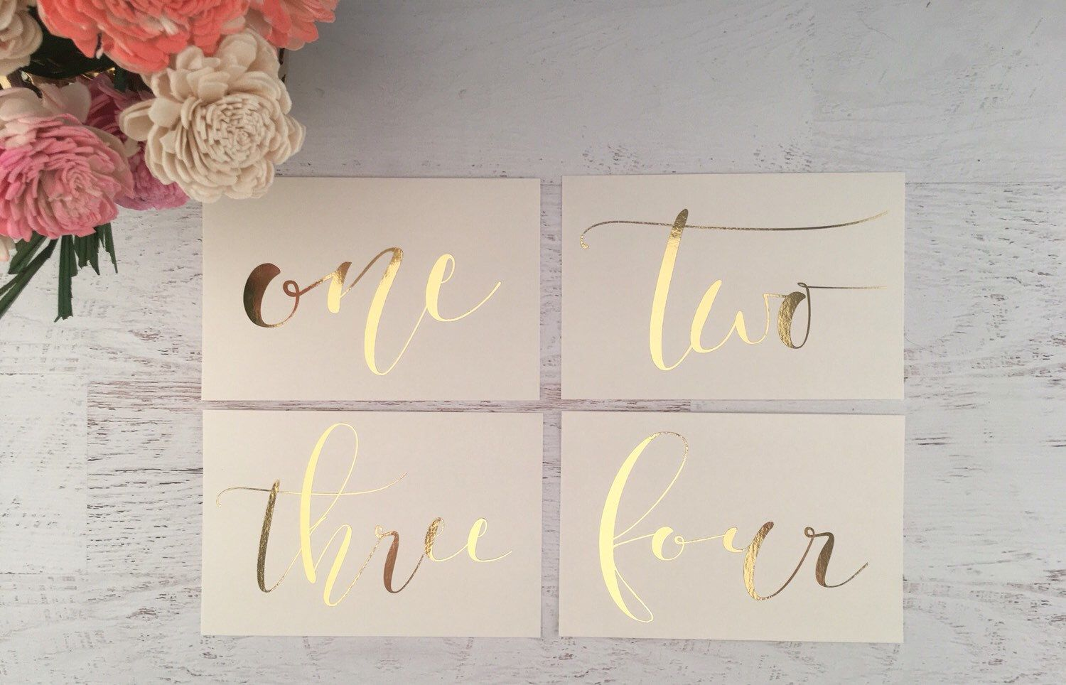 Ivory And Gold Table Numbers Markers Wedding Decor Foil By Gildedpaperco