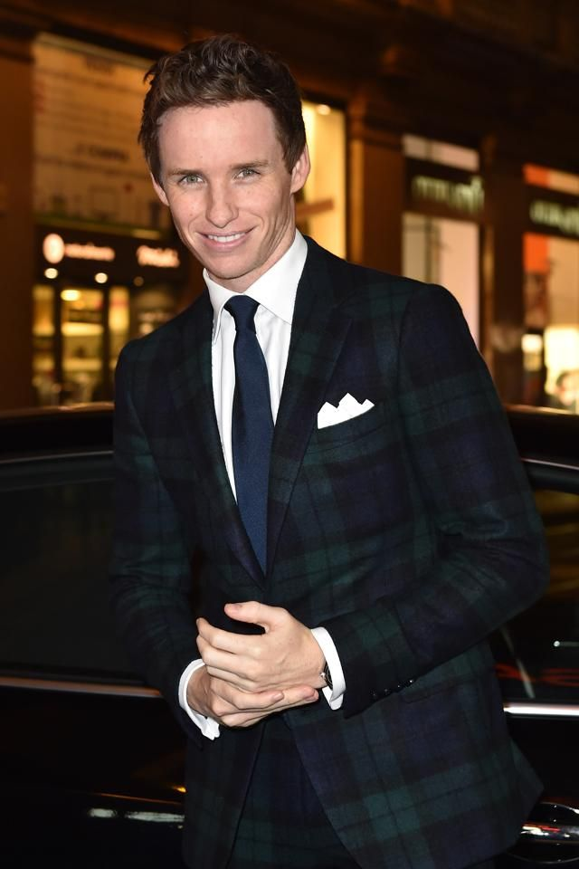 92ebfdf8e4ff Eddie Redmayne in a Ralph Lauren Purple Label Blackwatch Flannel ...