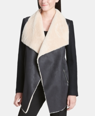 beca38cfc4a Calvin Klein Open-Front Jacket With Faux-Fur Trim - Black XS