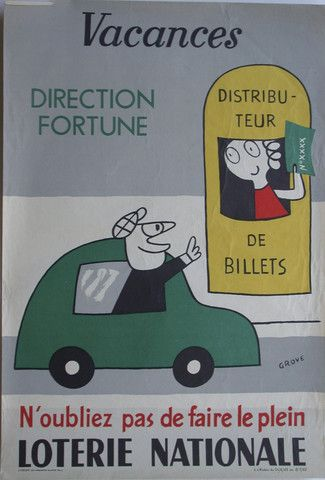 Loterie Nationale - Vacances : direction fortune - 1962 - illustration de Grove -