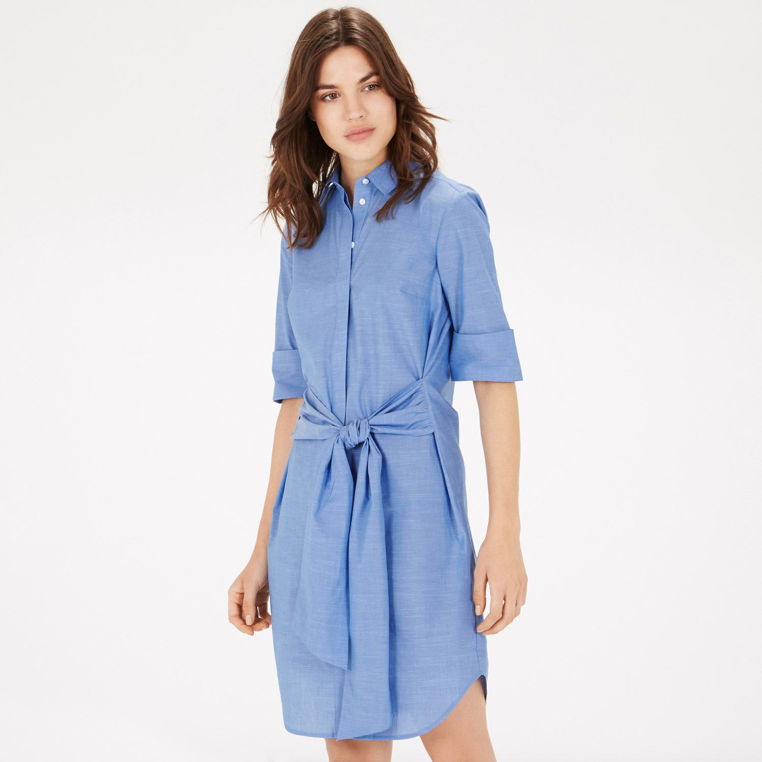 Warehouse Tie Front Shirt Dress Light Blue 0  FASHION ...