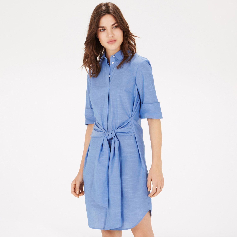 Warehouse Tie Front Shirt Dress Light Blue 0  FASHION ...