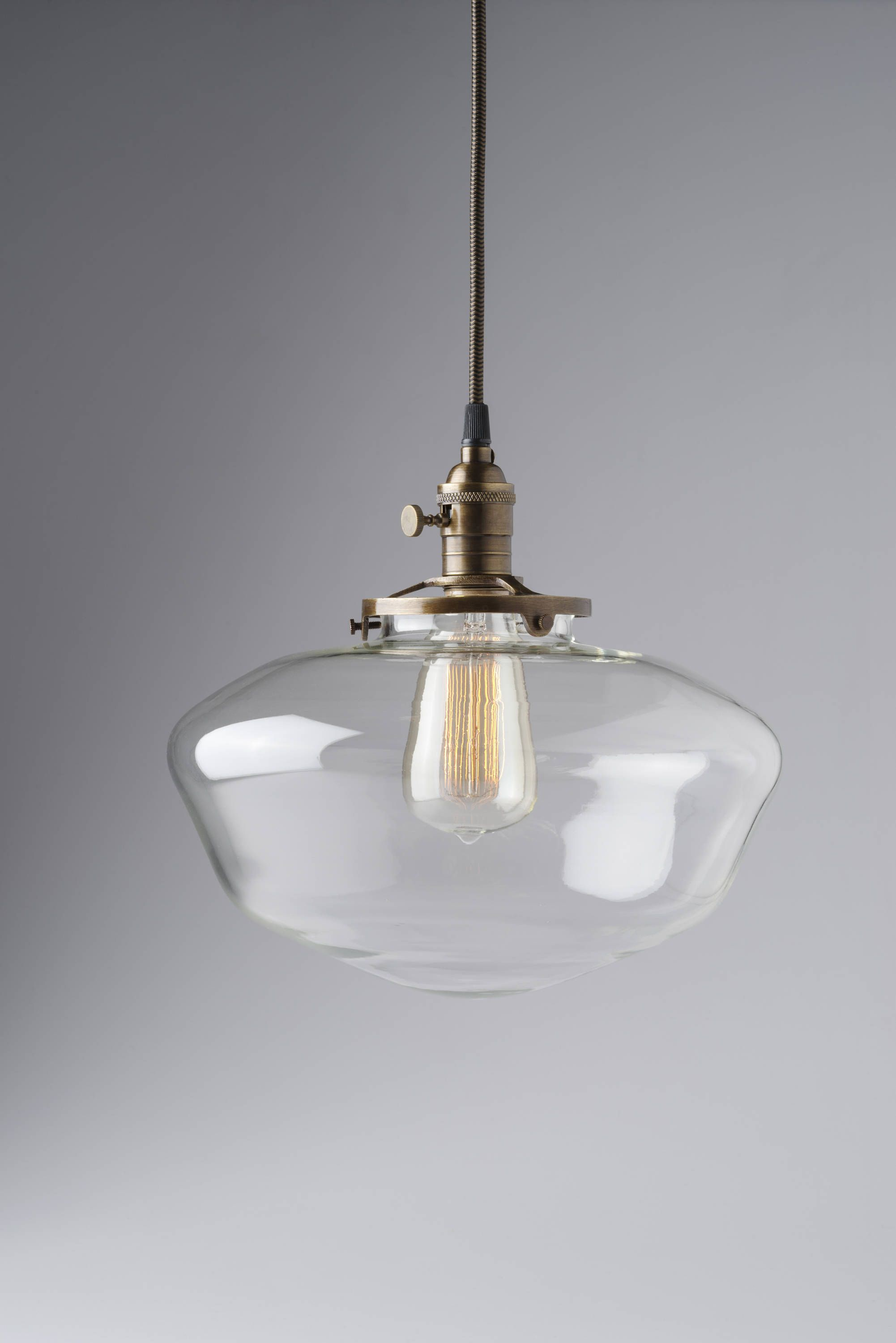 Schoolhouse Lighting With 12 Clear Schoolhouse Glass Etsy Glass Shade Pendant Light Pendant Light Clear Pendant Light