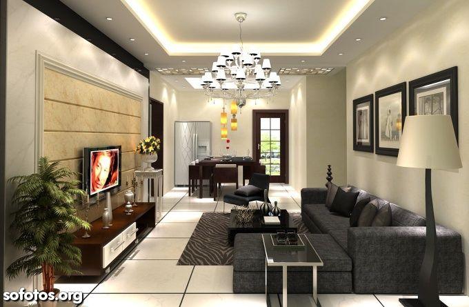 Sala de estar com gesso lustre e abajur designer de for Lustres para sala de estar