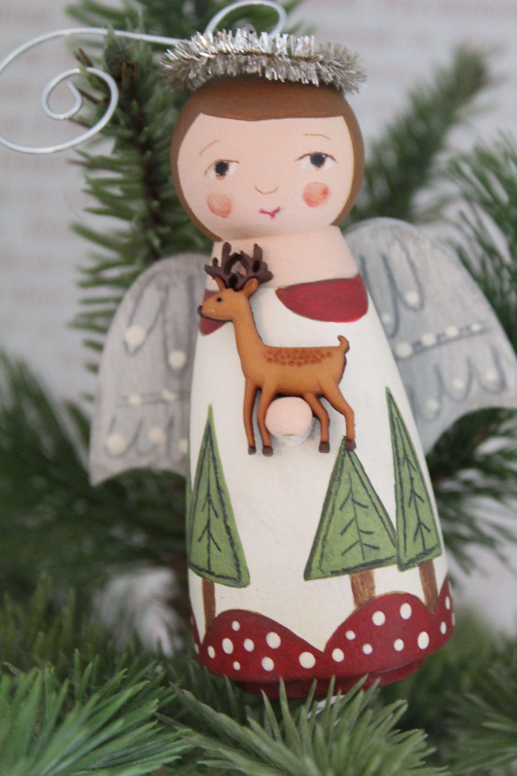 Angel Christmas Ornament Folk Art Winter Decor Collectible Etsy Wooden Christmas Ornaments Dolls Handmade Christmas Angels