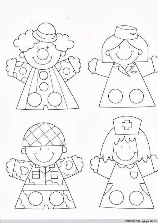 titeres de dedos profesiones community helpers professions paper crafts for kids crafts. Black Bedroom Furniture Sets. Home Design Ideas