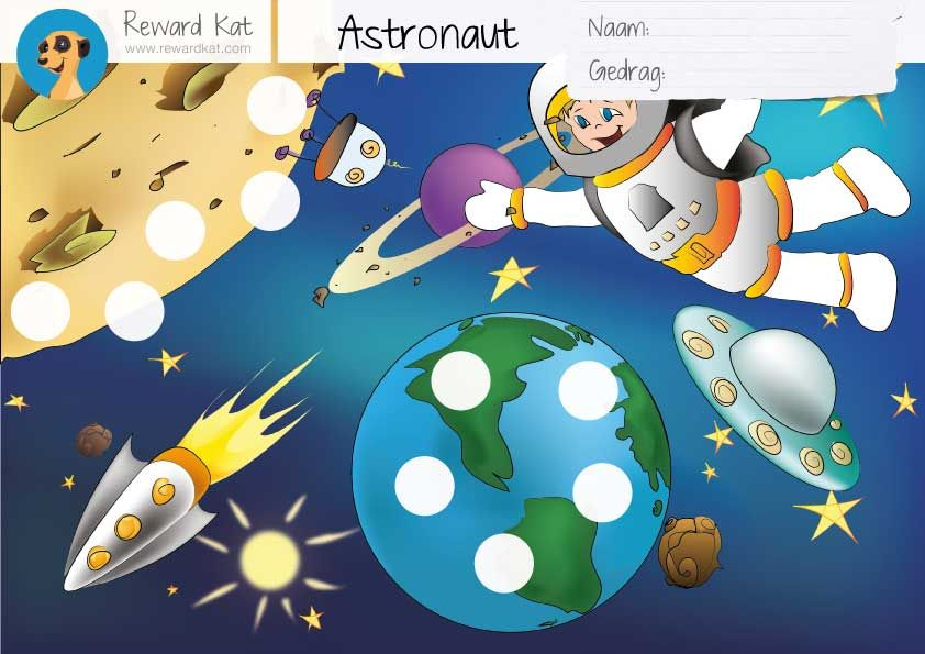 Astronaut Beloningskaart | Gratis Beloningskaart Kinderen