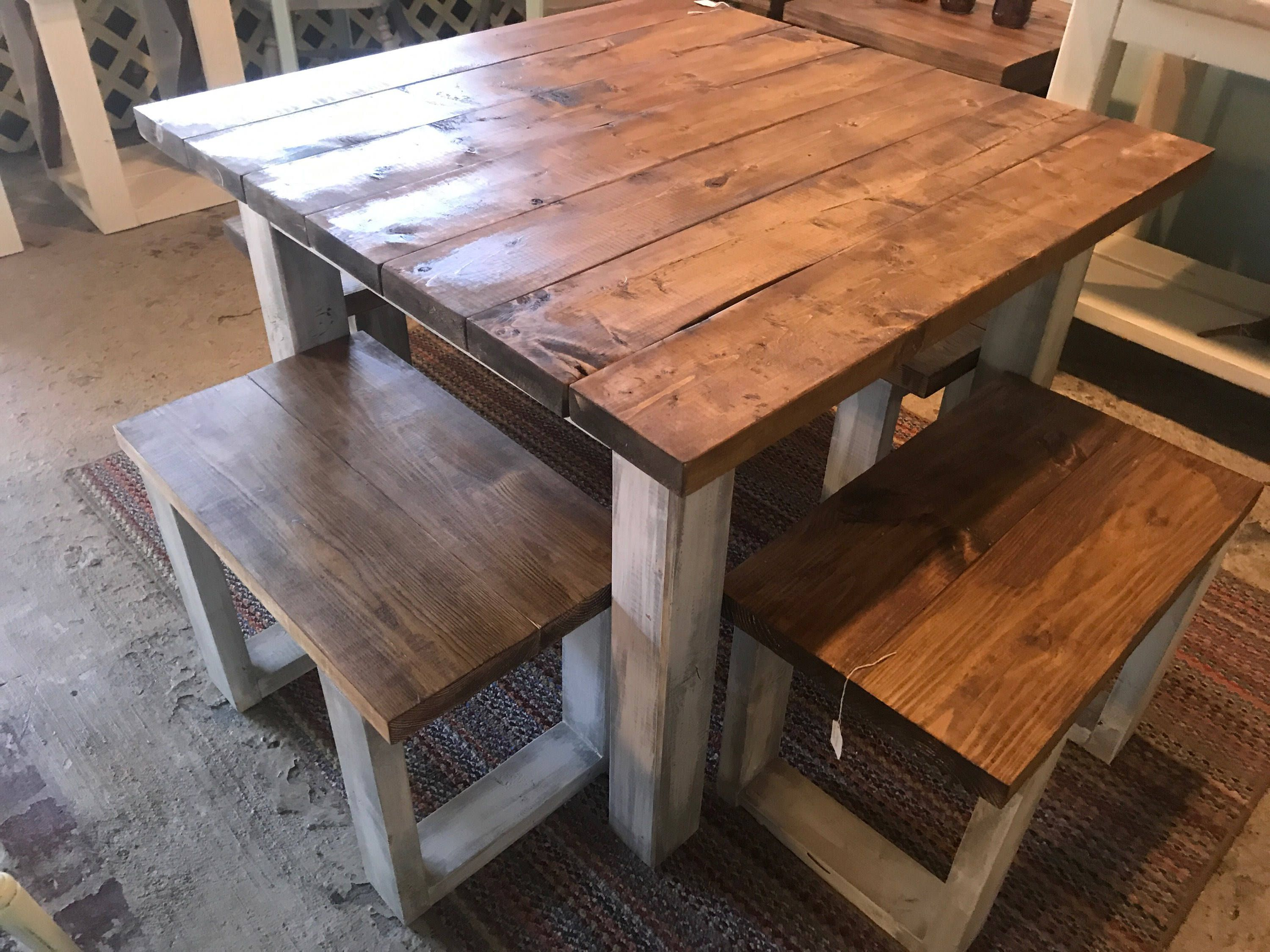 Square Farmhouse Table Rustic Farmhouse Table Dining Set ...